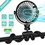 Portable Handheld Fan, 2600mAh Battery Powered Clip-on Personal Desk Baby Fan Air Circulator Fan with Flexible Tripod, Ultra Quiet 4 Speed 360° Rotatable USB Fan for Stroller/Bike/Camping/BBQ/Gym