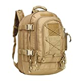 Military Expandable Travel Backpack Tactical Waterproof Work Backpack for Men(TAN)