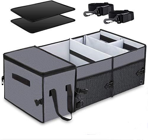X-cosrack Auto Kofferraumtasche, Organizer Auto mit Klett Spanngurten - Kofferraum Falttasche Einkaufstasche Autotasche Autobox Autokofferraumtasche Klettbefestigung Kofferraum-Organizer Grau