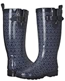 Capelli New York Ladies Shiny Diamond Printed Mid-Calf Rain Boot Navy Combo 8