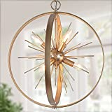 Gold Chandelier, 6-Light Modern Globe Chandelier, Starburst Gold Pendant Light Fixture with Rotatable Framework for Kitchen Island, Foyer, Dining Room & Entryway, 18'' D x 20.5'' H