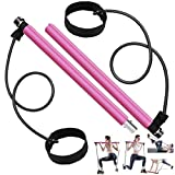 Long Resistance Bands Pilates Bar Kit, Home Gym Equipment for Women Body Workout, Portable Exercise Stick Handle with Foot Loops for Legs Butt Waist Yoga Fitness Squats Muscle Training Set, Hot Pink