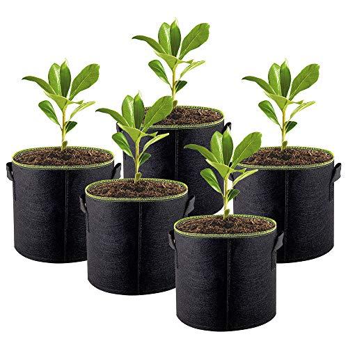 Enjoygoeu Pflanzsack aus Speziellen Vliesstoff, 10 Gallonen, 5er Pflanztaschen Kartoffelsack Pflanzbeutel, Grüner Rand Design für Kartoffel Tomaten (ca. 40 Liter)