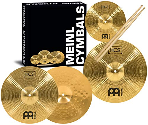 Meinl Cymbal Set Box Pack with 13' Hihats, 14' Crash, Plus Free 10' Splash, Sticks, Lessons – HCS Traditional Brass – Made in Germany, 2-YEAR WARRANTY MultiColor HCS1314-10S