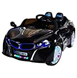 BMW i8 Style Premium 12-Volt MP3 Electric Battery Powered Ride On Kids Boys Girls Toy Car RC Parental Remote LED Lights Music Real Paint - Black