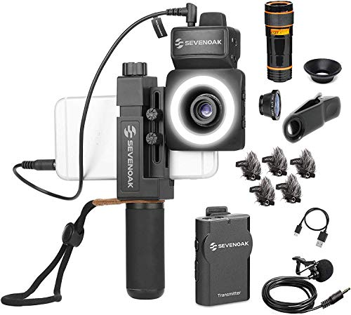Movo SmartCine W1 - Wireless Smartphone Video Kit with Phone Rig, Wireless Lavalier Microphone System, LED Light, Wide, Tele and Fisheye Lenses for iPhone/Android Phones - Great YouTube, TIK Tok Kit