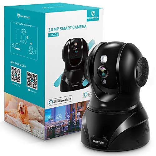 HeimVision WLAN IP Kamera Überwachungskamera 3MP 360° Schwenkbare Kamera Baby/Haustier/Zuhause Monitor, Innenraumsicherung mit Nachtsicht Gegensprechfunktion, Bewegungsmelder, Kompatibel mit Alexa
