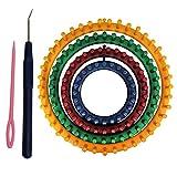 Tricotin Circulaire Métier (Lot de 6) - 4 Plastique Métiers à Tricoter Ronds (14cm, 19cm, 24cm, 29cm), 1 Aiguille à tricoter et 1 Crochet avec Instructions pour Débutants et Professionnels