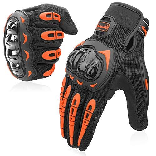 COFIT Motorrad Handschuhe, Touchscreen Motorradhandschuhe für Motorradrennen, Mountainbike, Motorcross, Klettern, Wandern und andere Outdoor Sportarten und Aktivitäten - Orange XL