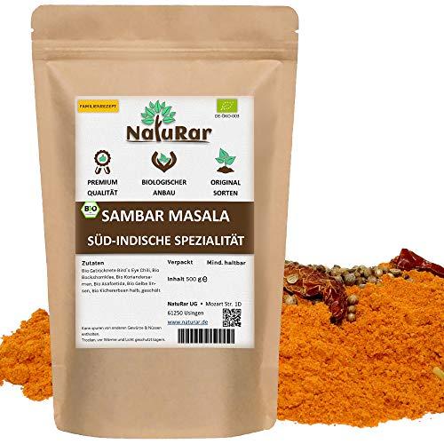 NatuRar Bio Sambar Masala 500g | Gewürzmischung für Indische Gemüseeintopf | Einzigartiges, Authentisches Familienrezept