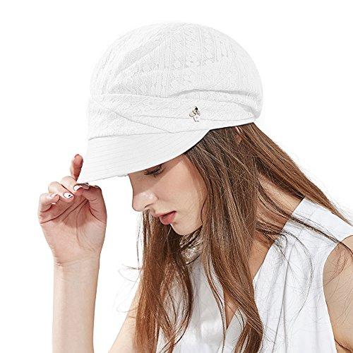 Comhats Damen Schirmmütze Sommerhut Faltbare Barett Mütze mit Visor Weiß