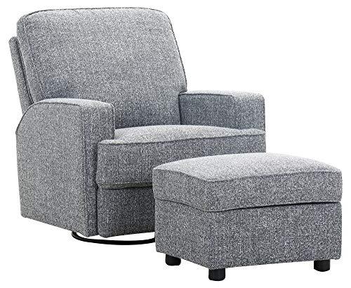 Amazon Brand – Ravenna Home Modern Swivel Chair with Storage Ottoman, 33.9'W, Smoke Grey