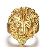 Epinki Plaqué Or Bague, Bague pour Hommes Tête de Lion Or Taille 59