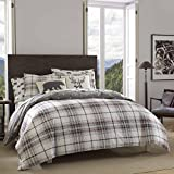 Eddie Bauer | Alder Collection | 100% Cotton Soft and Cozy Premium Quality Comforter with Matching Shams, 3-Piece Bedding Set, Plaid to Print Reversible, Full/Queen, Charcoal