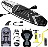 CAOS Inflatable Stand Up Paddle Board & Kayak Seat - Non Slip UV-Protected Deck, Fiber-Reinforced Paddle & Waterproof Carry Bag - Premium SUP Paddleboard for Adults with Pump & Pressure Gauge (Black)