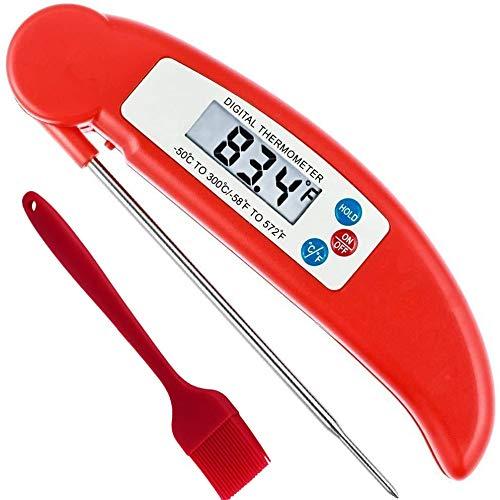 Kochthermometer für Fleisch, digital, sofort ablesbar, faltbar, lange Sonde, Korrosionsschutz, mit Grillbürste, ideal für Küche, Kochen, Essen, Wein, Grill, Milch, Badewasser Rot+rote Bürste