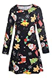 LaSuiveur Women White and Red Santa Claus Print Long Sleeve Shift Dress,New 3,Small