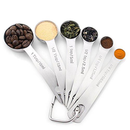 U Chef Set de cucharas medidoras para ingredientes líquidos o secos. Contiene 6 cucharas de acero inoxidable calidad Premium