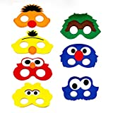 7pcs Sesame Street Cartoon Felt Masks Elmo Boys Girls Birthday Party Favors Supplies Dress-Up Cosplay (Sesame Street)