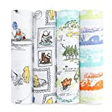 aden + anais Disney, Swaddle Blanket | Boutique Muslin Blankets for Girls & Boys | Baby Receiving Swaddles | Ideal Newborn & Infant Swaddling Set | Perfect Shower Gifts, Winnie The Pooh
