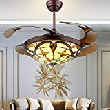 """Fandian 42"""" Tiffany Style Ceiling Fan with Light Classic LED Chandelier Remote Control Retractable Blades 3 Speeds 3 Light Changes Ceiling Lamp Lighting Fixture, Silent Motor Craft-made Colorful Lamps"""