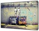"""Ristampa su tela incorniciata, decorazione per la casa, Banksy """"Life is Short"""", 40'' x 30'' inch( 102x 76 cm )-18mm depth"""
