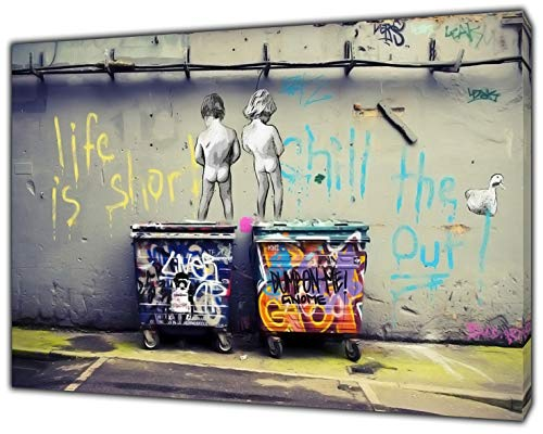 "Ristampa su tela incorniciata, decorazione per la casa, Banksy ""Life is Short"", 40'' x 30'' inch( 102x 76 cm )-18mm depth"