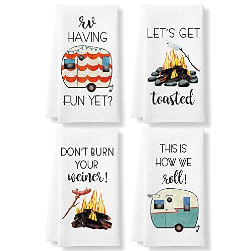 KLL Funny Camping Kitchen Towels and Dishcloths Sets of 4 - Dish...