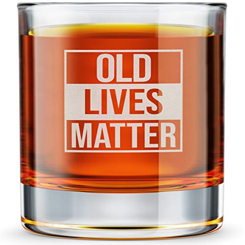 Old Lives Matter Etched Whiskey Glass Cup - Funny Birthday...