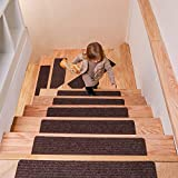 MBIGM 8' X 30' (15-Pack) Non-Slip Carpet Stair Treads Non-Skid Safety Rug Slip Resistant Indoor Runner for Kids Elders and Pets with Reusable Adhesive, Brown