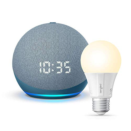 All-new Echo Dot (4th Gen) with clock - Twilight Blue - bundle with Sengled Bluetooth bulb (Certified for Humans product)
