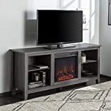Walker Edison Wren Classic 4 Cubby Fireplace TV Stand for TVs up to 65 Inches, 58 Inch, Charcoal Grey
