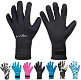 Neoprene Gloves Diving Wetsuit Gloves 3mm Glued Anti-Slip Flexible Thermal with Adjustable Waist Strap for Snorkeling Scuba Diving Surfing Kayaking Rafting Spearfishing Sailing (5mm Black, S)