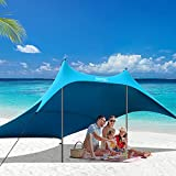 AKASO Beach Tent, Portable Beach Canopy Sun Shelter UPF50+ for 6-8 People, for Beach, Camping Trips, Fishing, Backyard or Picnics (10×10 FT with 2 Poles)