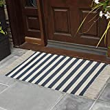 USTIDE Indoor Woven Striped Outdoor Rug Handmade Printed Cotton Rug, 23.6' x 51.2' Farmhouse Rug for Porch Entry Way Laundry Room