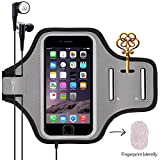 Sports Armband, Universal Outdoor Running Arm Band Workout Cell Phone Bag with Key Holder/Fingerprint Touch for Apple iPhone X/8/7/6S/6 Plus, Samsung Galaxy S8/S7/S6 Edge, Note LG HTC (Gray)