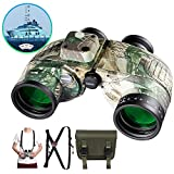 QUNSE 10x50 Military HD Binoculars with Compass and Rangefinder Large Object FMC Lens Clear View BAK4, with Shoulder Harness Strap and Binoculars Bag (Camouflage)