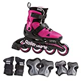 Rollerblade Microblade Girl's Adjustable Fitness Inline Skates and 3 Pack of Protective Gear, Pink and Bubble Gum, Junior, Youth Performance Inline Skates, 5-8