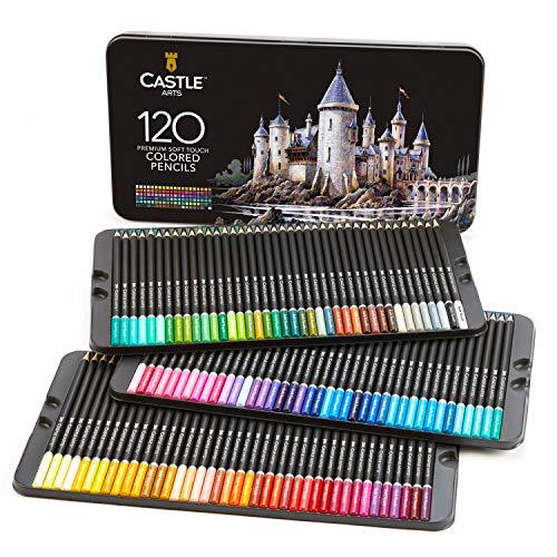 """Castle Art Supplies, Set mit 120 Buntstiften für Künstler mit Mine der """"Soft Series"""" für professionelles Schichten, Mischen und Schattieren von Farbtönen; perfekt für Malbücher und Schule"""