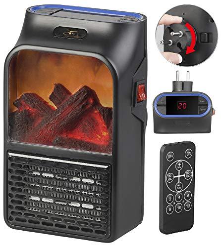 Sichler Haushaltsgeräte Miniheizung: Steckdosen-Heizlüfter mit Kaminfeuer-Effekt und Fernbedienung, 500 W (Handy Heater)