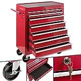 Arebos Servante Caisse à Outils Chariot d'Atelier   7 tiroirs   Rouge  ...