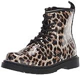 Steve Madden Girls' SASHAA Combat Boot, Leopard, 5 M US Big Kid