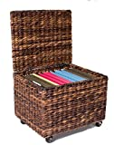 BIRDROCK HOME Seagrass Rolling File Cabinet - Storage Organizer Box with Lid - Home Office Decor - Decorative Organize - Letter Legal Hanging Filing Container - Strong Durable Toy Pillow - Espresso