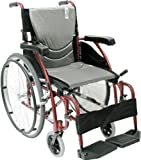 Karman Healthcare S-115 Ergonomic Ultra Lightweight Manual Wheelchair, Rose Red, 18' Seat Width