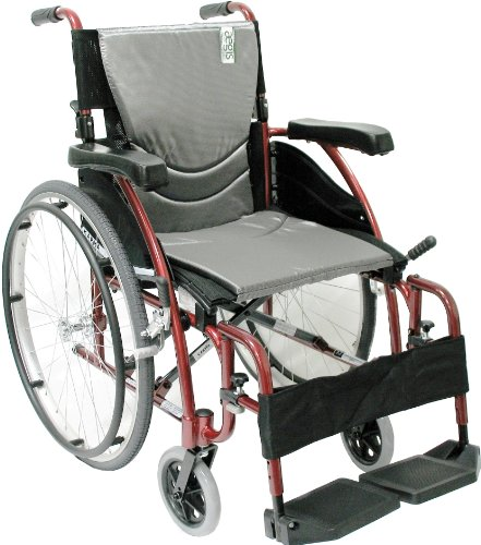 Karman Healthcare S-115 Ergonomic Ultra Lightweight Manual Wheelchair, Rose Red, 16' Seat Width