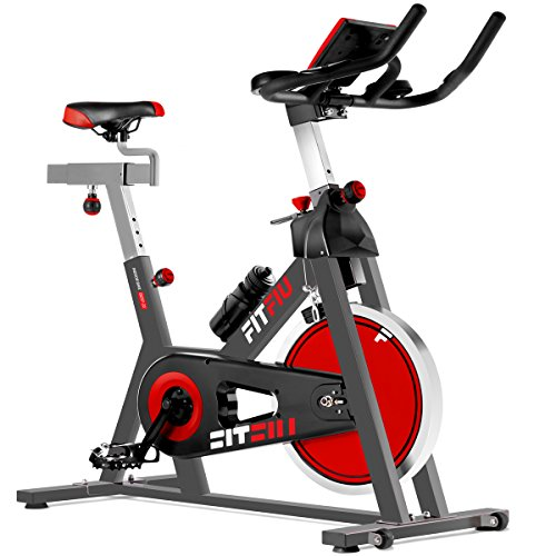 FITFIU BESP-22 - Bike Indoor Spinning ergonomic with disk inertia 24kg and resistance adjustable, Bike Fitness Workout seat adjustable, Heart rate monitor and LCD display
