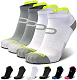 Ankle Compression Running Socks for Men & Women (2 Pairs) - Best Low Cut, No Show Athletic Socks with Heel Tab - Moisture Wicking, Arch Support Plantar Fasciitis Socks for Runners, Endurance, Cycling
