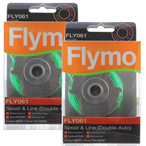 Flymo Genuine Contour 600HD Strimmer 2,0 Millimetri Doppio Auto Spool & Line (Confezione da 2, FLY061)