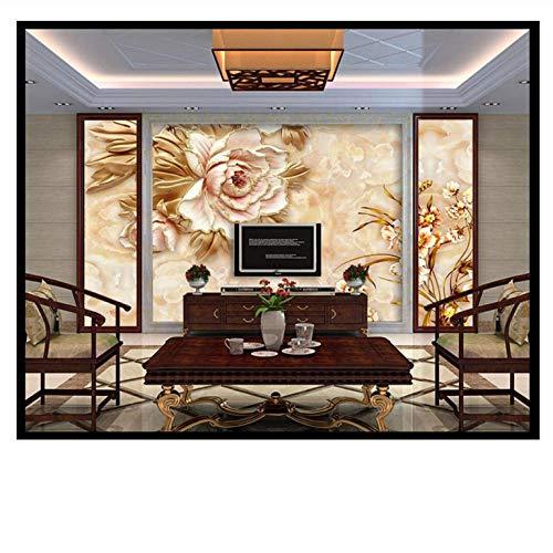 Lovemq Carta Da Parati Peonia Rilievo Sfondo Muro Marmo Floreale Murale Jade Texture Tv Divano...