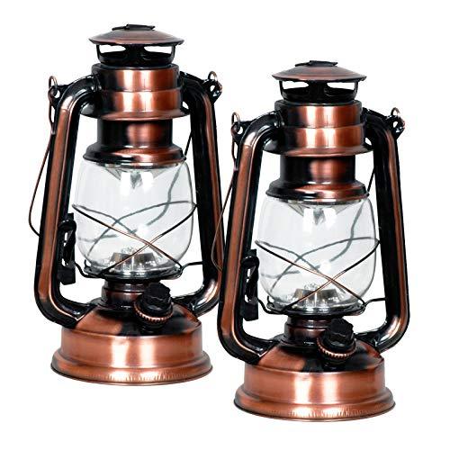 Eaxus® 2er Set 15 LED Kupfer Gartenlaterne im Öllampen-Design - Schönes Deko Windlicht